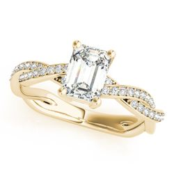 14K Yellow Gold Multirow Emerald Shape Diamond Engagement Ring