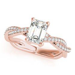 14K Rose Gold Multirow Emerald Shape Diamond Engagement Ring