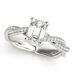14K White Gold Multirow Emerald Shape Diamond Engagement Ring
