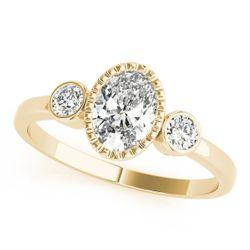 14K Yellow Gold Three Stone Oval Shape Diamond Engagement Ring