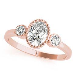 14K Rose Gold Three Stone Oval Shape Diamond Engagement Ring