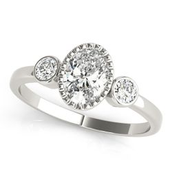 14K White Gold Three Stone Oval Shape Diamond Engagement Ring