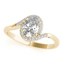 14K Yellow Gold Bypass Oval Shape Diamond Engagement Ring