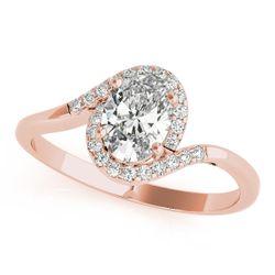 14K Rose Gold Bypass Oval Shape Diamond Engagement Ring