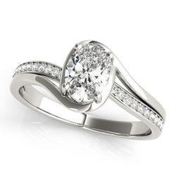 14K White Gold Bypass Oval Shape Diamond Engagement Ring