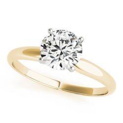 14K Yellow Gold Solitaire Round Shape Diamond Engagement Ring