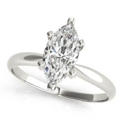 14K White Gold Solitaire Marquise Shape Diamond Engagement Ring