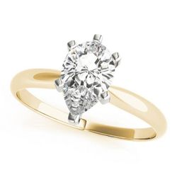 14K Yellow Gold Solitaire Pear Shape Diamond Engagement Ring