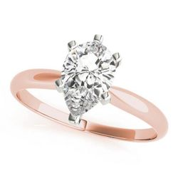 14K Rose Gold Solitaire Pear Shape Diamond Engagement Ring
