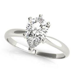 14K White Gold Solitaire Pear Shape Diamond Engagement Ring