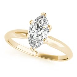 14K Yellow Gold Solitaire Marquise Shape Diamond Engagement Ring