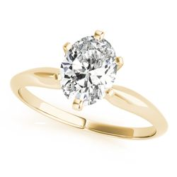 14K Yellow Gold Solitaire Oval Shape Diamond Engagement Ring
