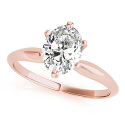14K Rose Gold Solitaire Oval Shape Diamond Engagement Ring