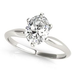 14K White Gold Solitaire Oval Shape Diamond Engagement Ring