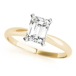 14K Yellow Gold Solitaire Emerald Shape Diamond Engagement Ring