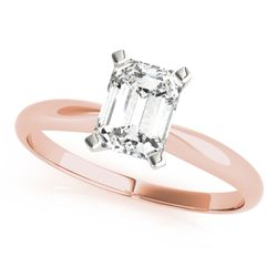 14K Rose Gold Solitaire Emerald Shape Diamond Engagement Ring