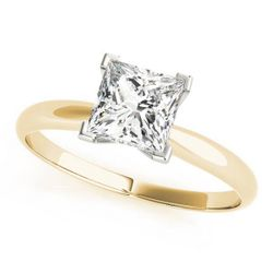 14K Yellow Gold Solitaire Princess Shape Diamond Engagement Ring