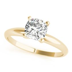 14K Yellow Gold Cushion Cut Diamond Solitaire Engagement Ring