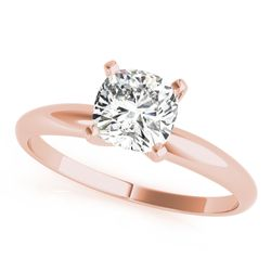 184K Rose Gold Cushion Cut Diamond Solitaire Engagement Ring