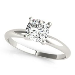 14K White Gold Cushion Cut Diamond Solitaire Engagement Ring