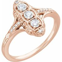 14K Rose 1/3 CTW Diamond 3-Stone Ring