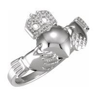 Platinum 12x14 mm Ladies Claddagh Ring