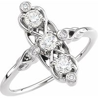 14K White 1/2 CTW Three-Stone Diamond Ring