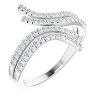 Platinum 1/4 CTW Diamond Bypass Ring