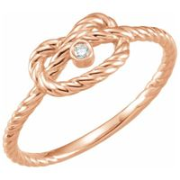 14K Rose .025 CTW Diamond Rope Knot Ring