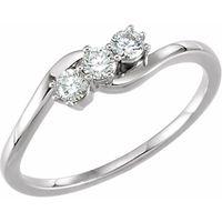 14K White 1/4 CTW Diamond Three-Stone Ring