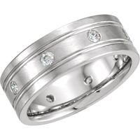 14K White 8 mm 1/2 CTW Dimaond Double Grooved Band