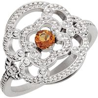 Sterling Silver Citrine Granulated Ring