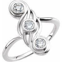 14K White 1/2 CTW Diamond Three-Stone Ring