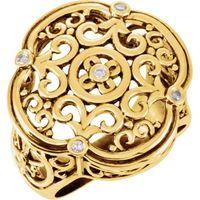 Sterling Silver .08 CTW Diamond Filigree Ring