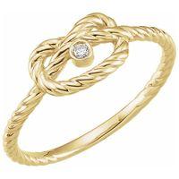 14K Yellow .025 CTW Diamond Rope Knot Ring