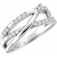 14K White 1/4 CTW Diamond Criss-Cross Ring