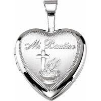 Sterling Silver Mi Bautizo Heart Locket