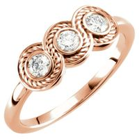14K Rose 1/3 CTW Diamond Three-Stone Ring