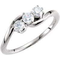 Platinum 1/2 CTW Diamond Three-Stone Ring