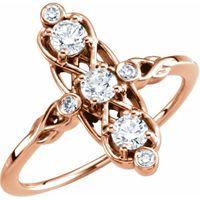 14K Rose 1/5 CTW Three-Stone Diamond Ring