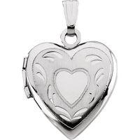 14K White 17.50x14.75 mm Heart Locket