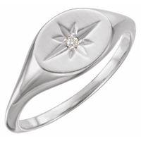 Platinum .02 CT Diamond 10x8 mm Oval Starburst Signet Ring