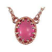 14K Rose 8x6 mm Oval Pink Tourmaline 18 Necklace