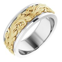 14K White/Yellow 7 mm Sculptural-Inspired Band