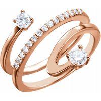 14K Rose 1/3 CTW Diamond Freeform Ring