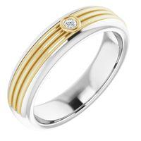 14K White & Yellow .02 CTW Diamond Men's Ring