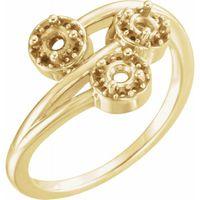 14K Yellow 3/8 CTW Diamond Halo-Style Three-Stone Ring
