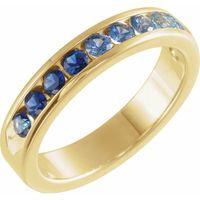 14K Yellow Blue Sapphire & Aquamarine Anniversary Band