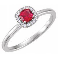 Platinum Lab-Grown Ruby & .04 CTW Diamond Halo-Style Ring