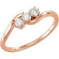 14K Rose 1/4 CTW Diamond Three-Stone Ring